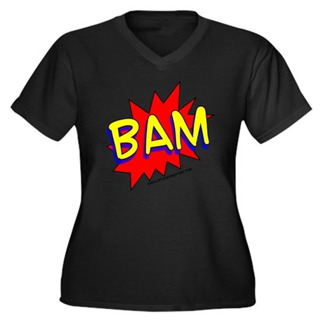 BAM Comic saying Women's Plus Size V-Neck Dark T-S