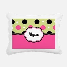 Pink Green Dots Personalized Rectangular Canvas Pi
