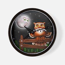 Surreal Owl and Moon Wall Clock
