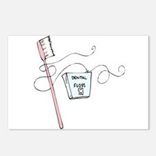 Toothbrush And Floss Dentist Postcards (Package of
