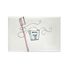 Toothbrush And Floss Dentist Rectangle Magnet