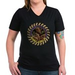 Morelaholic morel gifts Women's V-Neck Dark T-Shir