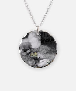 Black and White Silkie Chick Necklace