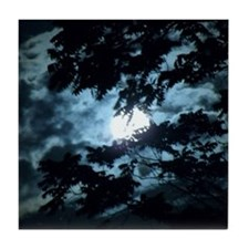 Moon through the trees. Tile Coaster
