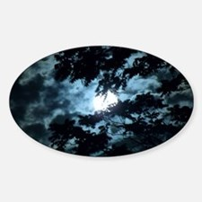 Moon through the trees. Sticker (Oval)