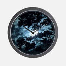 Moon through the trees. Wall Clock
