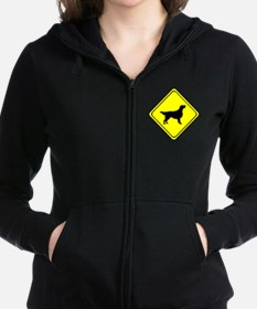 Flat Coated Retriever Crossing Zip Hoodie