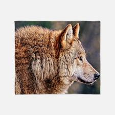 Golden Wolf Throw Blanket