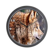 Golden Wolf Wall Clock