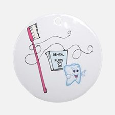 Healthy Teeth Brush and Floss Ornament (Round)