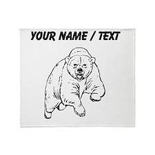 Custom Grizzly Bear Drawing Throw Blanket