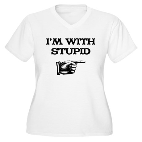 I'm With Stupid 01 Women's Plus Size V-Neck T-Shir