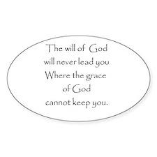 Gods will Gods Grace Oval Bumper Stickers