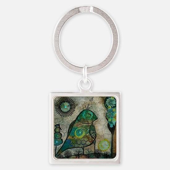 Birdie collage Square Keychain