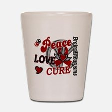 Brain Aneurysm Peace Love Cure 2 Shot Glass
