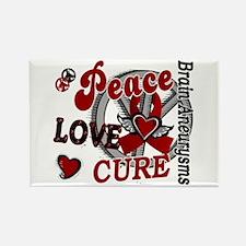 Brain Aneurysm Peace Love Cure 2 Rectangle Magnet