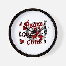 Brain Aneurysm Peace Love Cure 2 Wall Clock