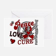 Brain Aneurysm Peace Love Cure 2 Greeting Card