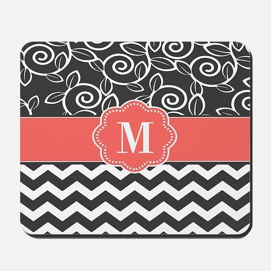 Gray Coral Chevron Scroll Monogram Mousepad