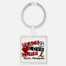 Brain Aneurysm Peace Love Cure 1 Square Keychain