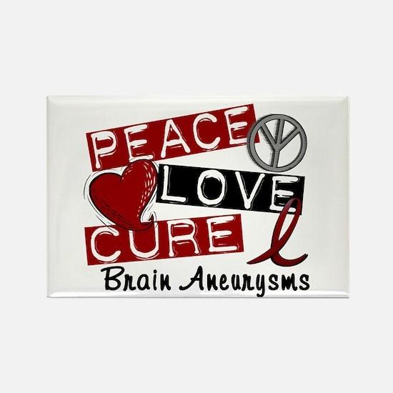 Brain Aneurysm Peace Love Cure 1 Rectangle Magnet