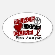 Brain Aneurysm Peace Love Cure 1 Sticker (Oval)