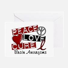 Brain Aneurysm Peace Love Cure 1 Greeting Card