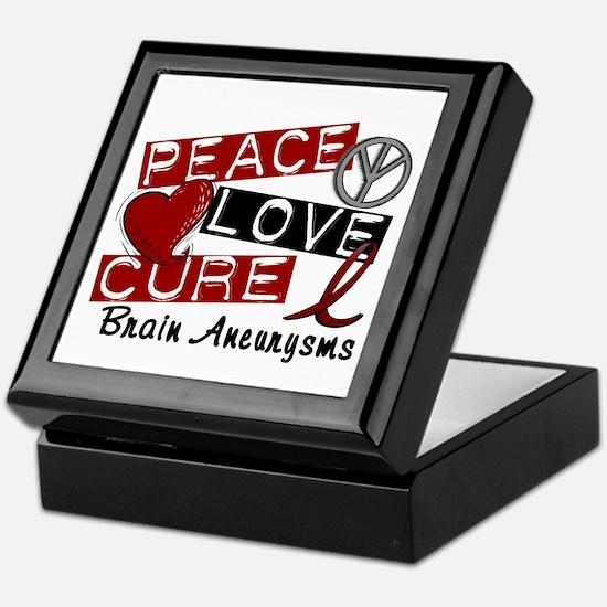 Brain Aneurysm Peace Love Cure 1 Keepsake Box