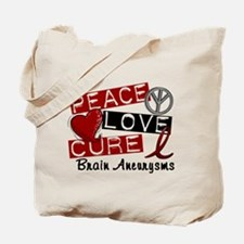 Brain Aneurysm Peace Love Cure 1 Tote Bag