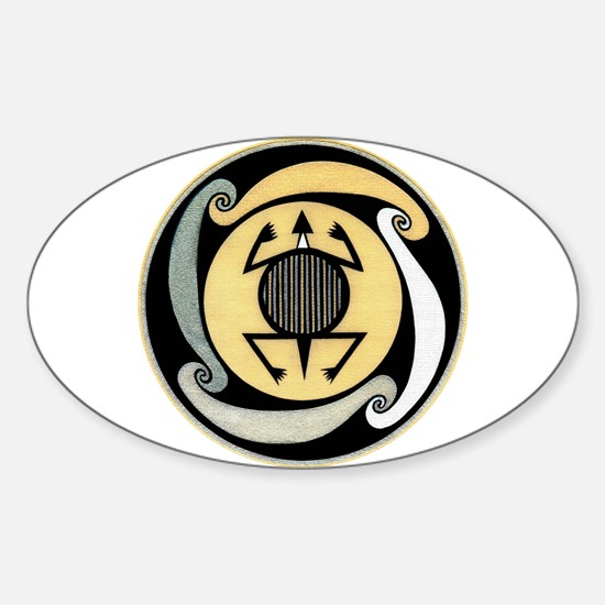 MIMBRES WATER TURTLE BOWL DESIGN Oval Decal