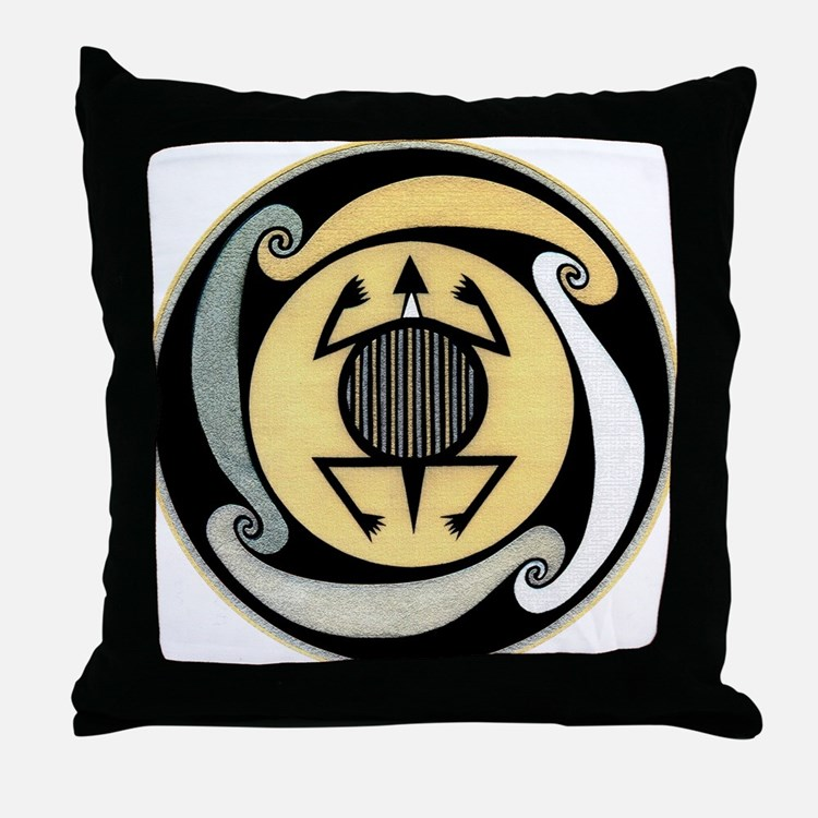 MIMBRES WATER TURTLE BOWL DESIGN Throw Pillow
