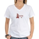 Brain aneurysm burgundy ribbon Womens V-Neck T-shirts