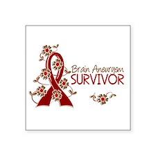 """Brain Aneurysm Survivor 3 Square Sticker 3"""" x 3"""""""
