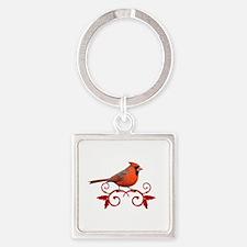 Beautiful Cardinal Square Keychain