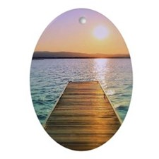 Sunset at Lake Champlain, Vermont Oval Ornament