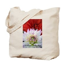 Red and White Dahlias Tote Bag