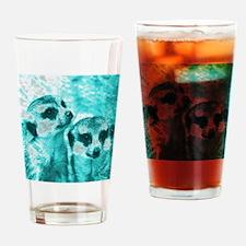 Meerkats, POPart, aqua Drinking Glass