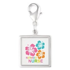 Hibiscus Retired Nurse Silver Square Charm