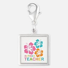 Hibiscus Retired Teacher Silver Square Charm
