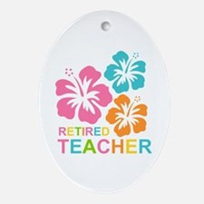 Hibiscus Retired Teacher Ornament (Oval)