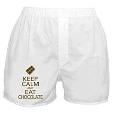 Keep Calm and Eat chocolate Boxer Shorts
