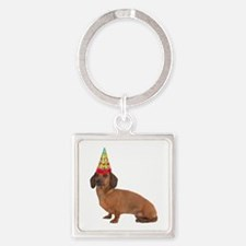 Smooth Red Dachshund Square Keychain