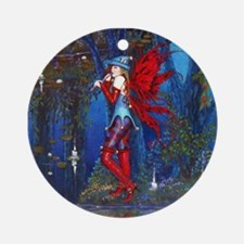 Crimson Wings by Fantasy art Illust Round Ornament