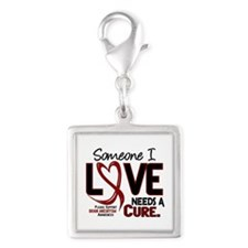 Brain Aneurysm Needs a Cure 2 Silver Square Charm