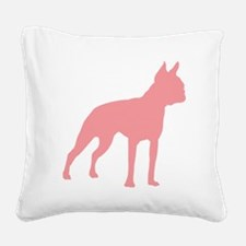 Boston Terrier Retro Pink Square Canvas Pillow