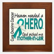Ovarian Cancer Heaven Needed Hero 1.1 Framed Tile