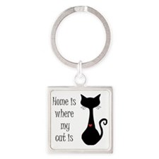 Home is where my cat is Square Keychain