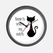 Home is where my cat is Wall Clock