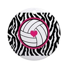 Volleyball -zebra print Ornament (Round)