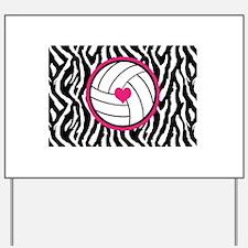 Volleyball -zebra print Yard Sign